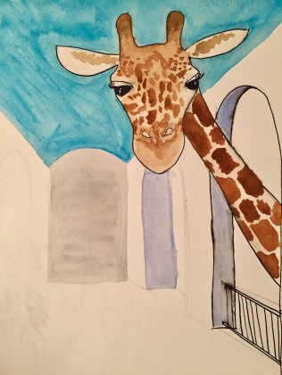 The giraffe looks fine, but really, what is going on here?