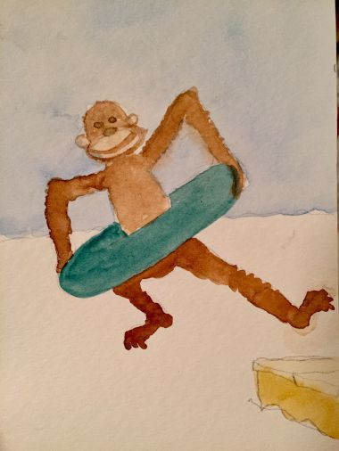 I tried to get more fun and illustrationy with the monkey. It's dumb, basically.
