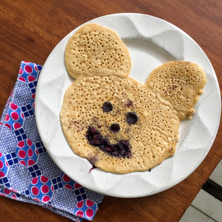 Stella made pancakes and I got a Mickey Mouse one!