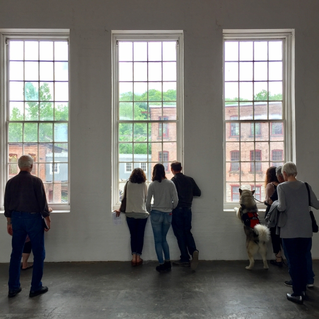 At MASS MoCA where there was a grande opening of the new wing. In this picture, even the service dog wants to check outt he view!