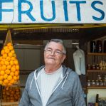 A produce stand owner