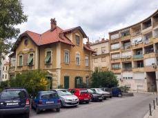 Petar's place, where we stayed, was int he apartment building behind this yellow house on the elft. We though the contrast of architecture was interesting.
