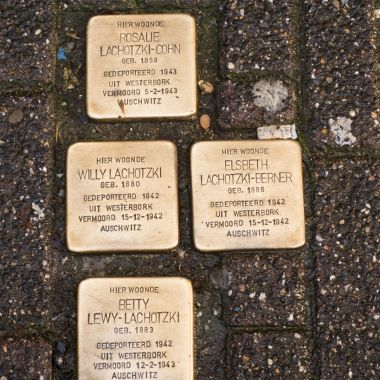 Solpersteins, or stumbling stone. They are beautiful brass plates inscribed with the name and life dates of victims of Nazi extermination or persecution.