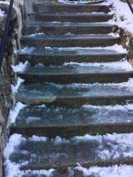 Ice on the stairs