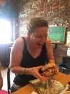 Me emoting over Kim's Craving sandwich at Bagel Street Deli this weekend (it contains bacon - my expression is appropriate)