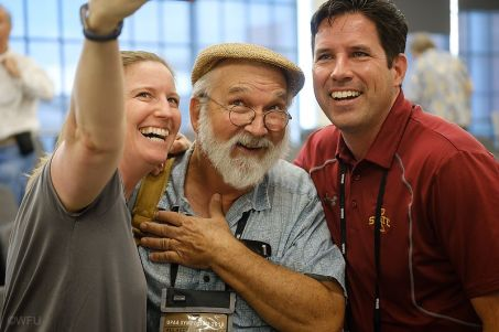 Ken Bennet took a photo of me shooting a selfie with the other two participants in the triple play (Patrick and Chris)