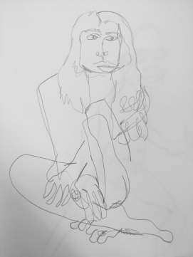 Another blind contour although I admittedly glanced at the page form time to time to find my spot.