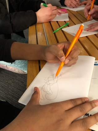Contour drawing (drawing your subject while only looking at the subject and not the paper)