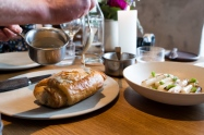Barr; Yummy chicken pastry and white asparagus