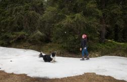 we found snow! Eliza with Lolli