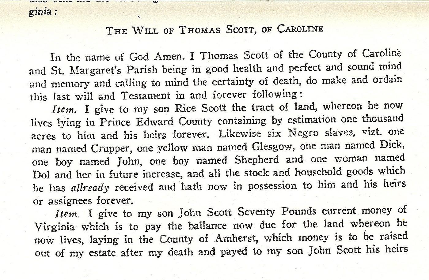 Will of Thomas Scott, of Caroline, Nov. 1772,Pg 1